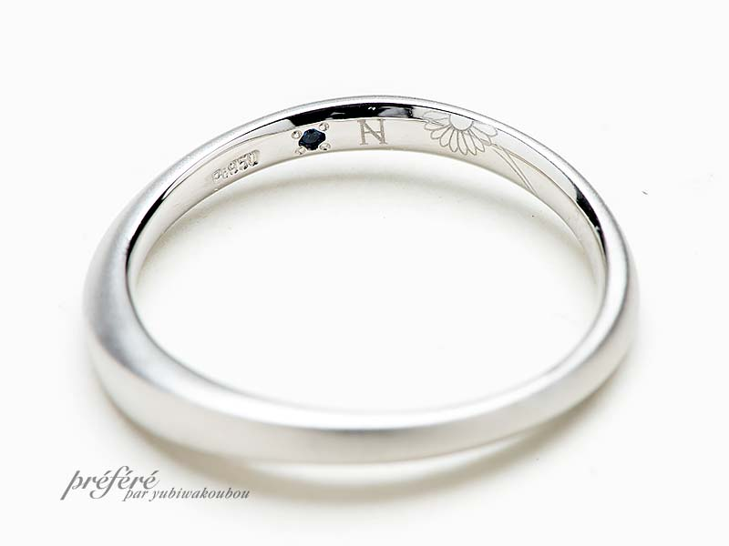 二人のリングを合わせてガーベラになるデザインの結婚指輪
