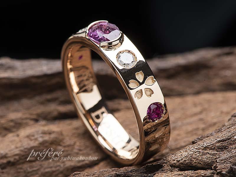 ルビーと桜の花モチーフの指輪にリメイク