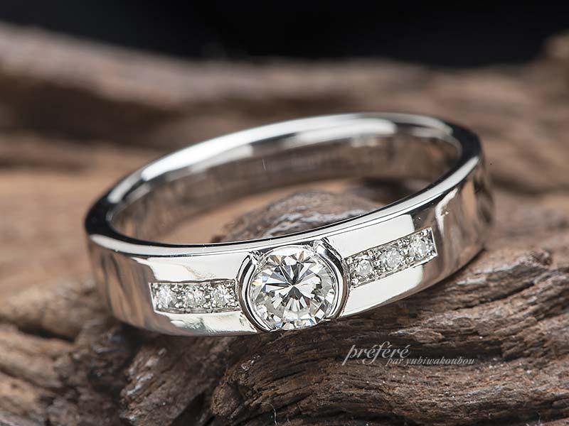 婚約指輪のダイヤを指輪にリメイク-指輪No.13232