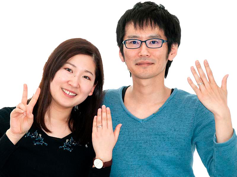 婚約指輪と結婚指輪をセットでご注文いただいたカップル様