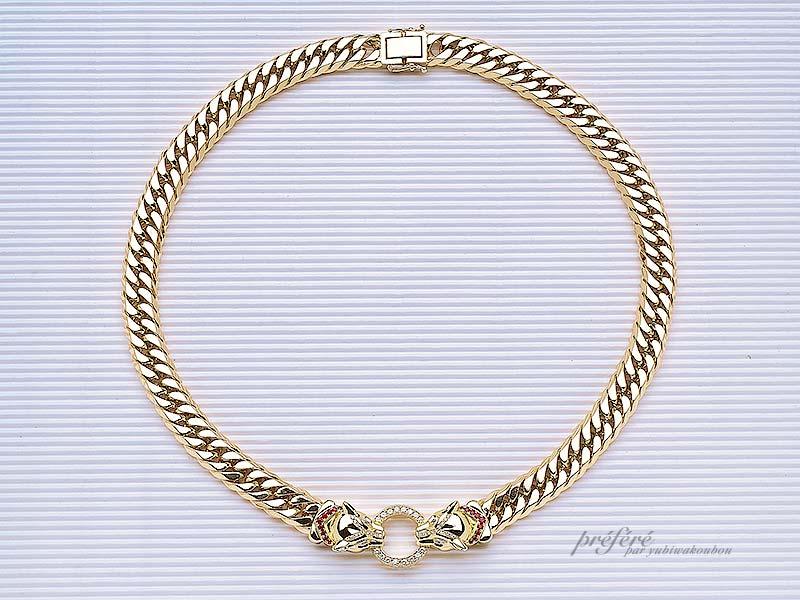 ヒョウモチーフのペンダントは、オーダーでメンズのネックレスとしてお作りしました。(指輪No.643)