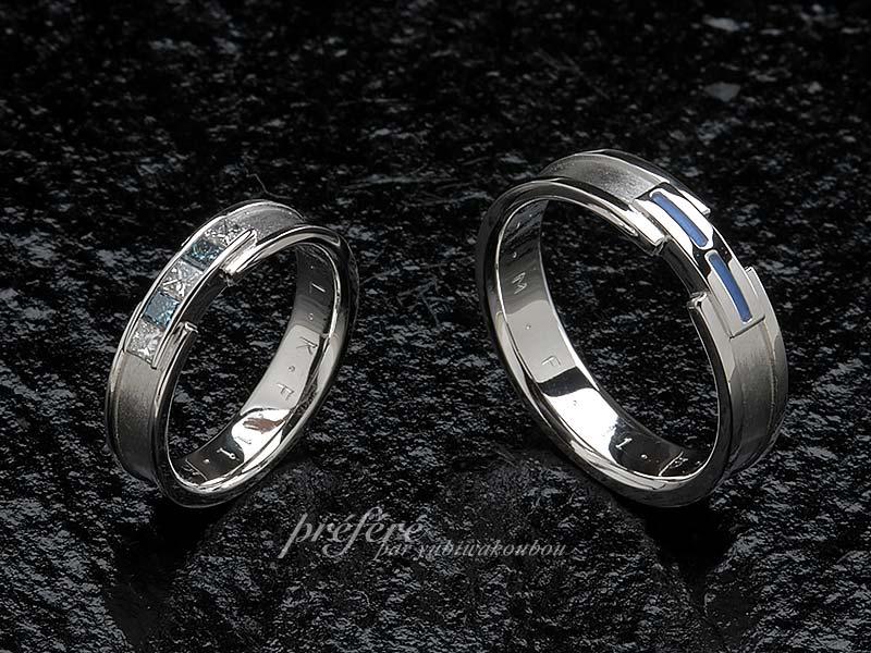 プリンセスカットダイヤを留めた結婚指輪オーダー