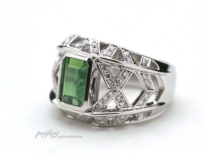 透かしのリングにダイヤを入れグリーントルマリンの指輪をオーダーメイド(指輪No.673)
