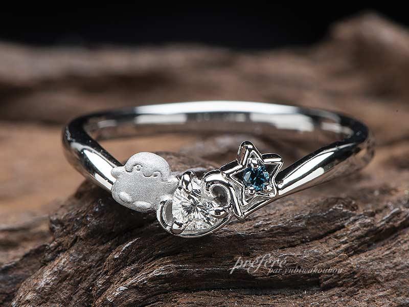 ペンギンを入れた婚約指輪オーダーNo.13745