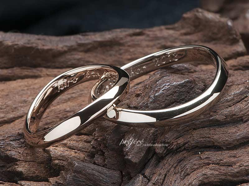 オーダーメイドの結婚指輪は18金でお創りしたシンプルデザイン