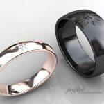太陽モチーフの結婚指輪はブラックとピンクゴールドでオーダー