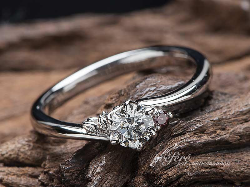 花びら、葉っぱを入れた婚約指輪