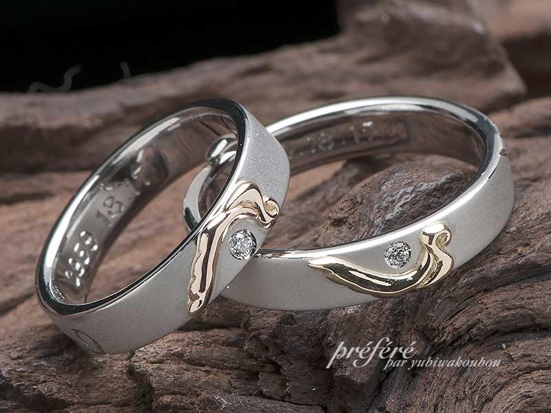 結婚指輪のオーダーは天使の羽のデザインと内側に誕生石