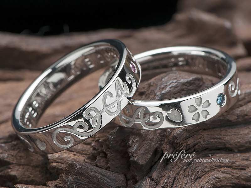 結婚指輪のオーダーメイドは思い出の桜モチーフ