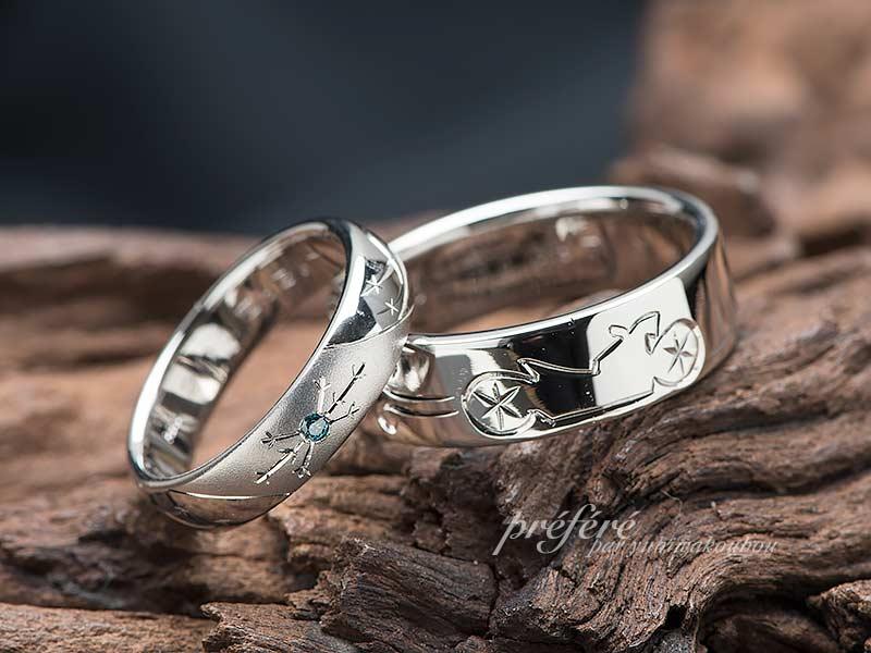 結婚指輪はオーダーメイドでバイクと雪の結晶デザイン