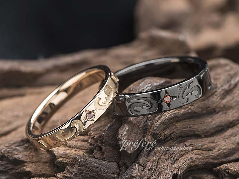 結婚指輪オーダーはブラックリングにクロスとイニシャル