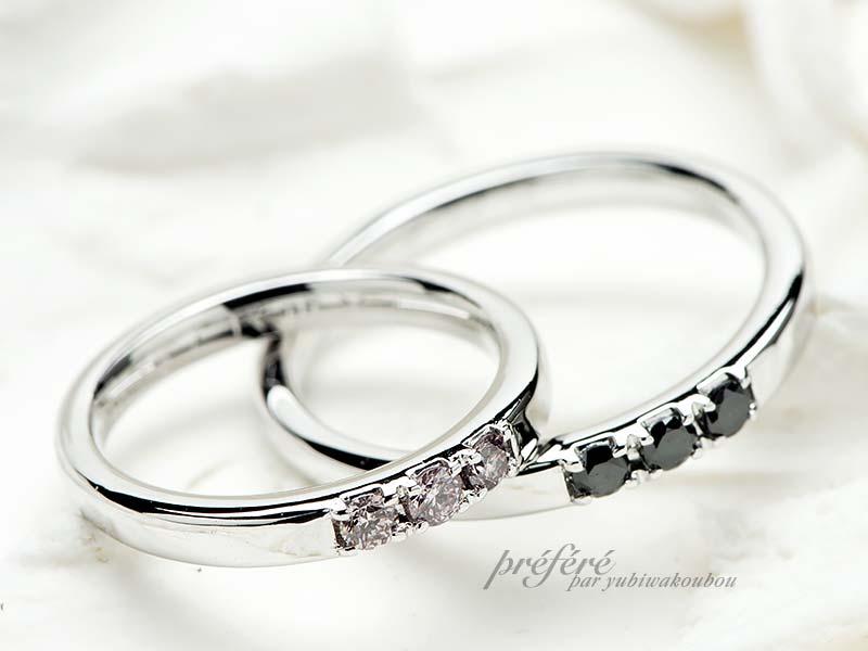 結婚指輪オーダーはブラックダイヤとピンクダイヤ
