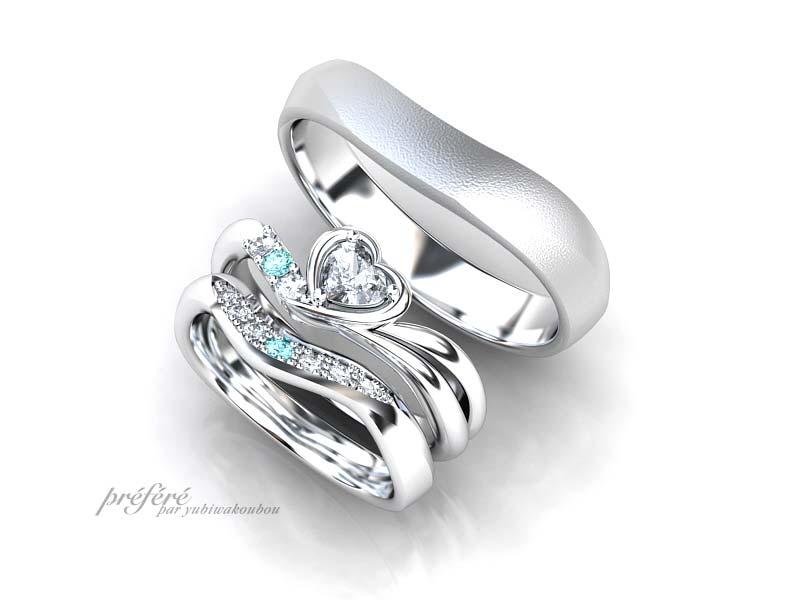 ハートダイヤの婚約指輪と結婚指輪のセットリングのオーダーメイド