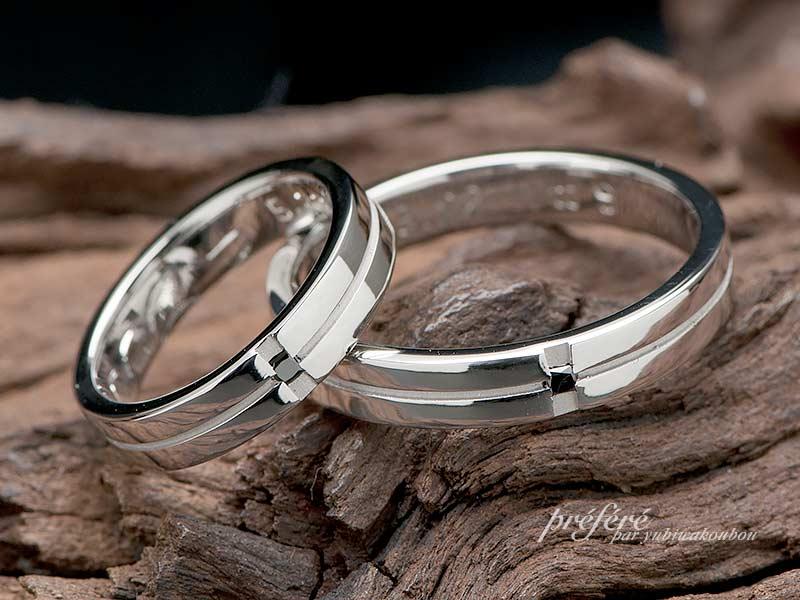 ブラックダイヤを入れたシンプルな結婚指輪はオーダーメイド
