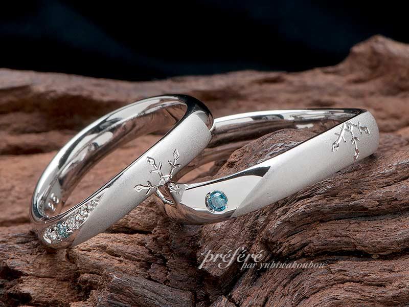 冬をイメージした雪の結晶デザインのオーダー結婚指輪