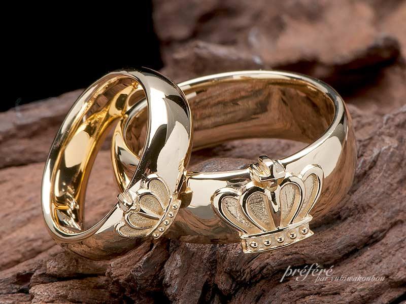 王冠モチーフの結婚指輪はオーダーメイド