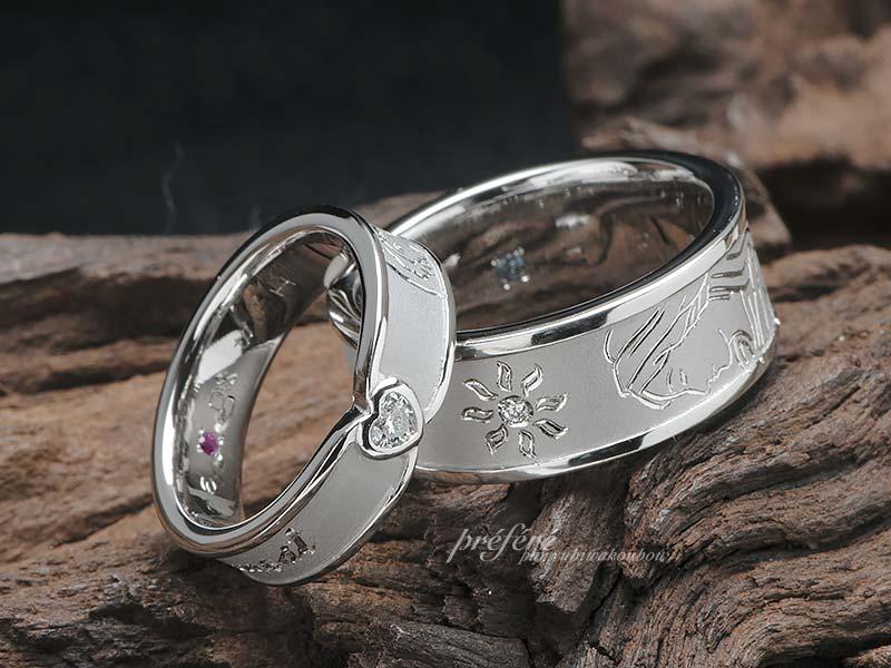 ハートダイヤとマリア様を入れた結婚指輪はオーダーメイド