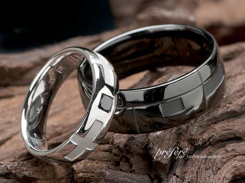 結婚指輪でお創りしたブラックリングはイニシャルを入れてオーダー