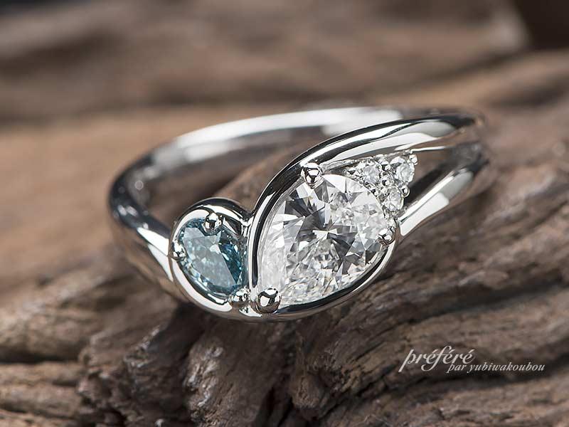 オーダーメイドの婚約指輪はペアシェイプのダイヤに想いを込めてプロポーズ