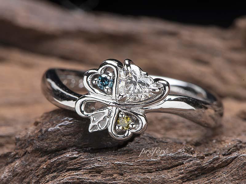 ハートダイヤで四つ葉の婚約指輪はオーダーメイド