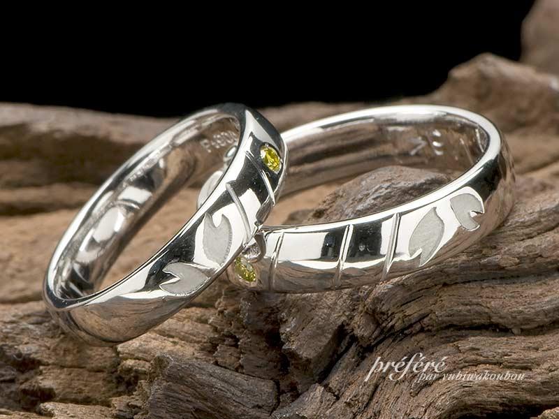 テニスコートのデザインでオーダー結婚指輪