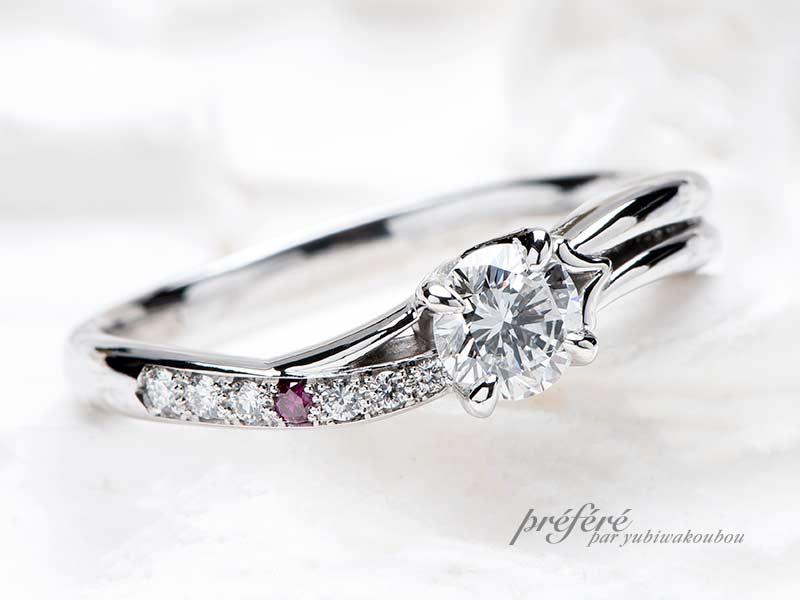 母から受け継がれるダイヤモンドを使ったオリジナル婚約指輪
