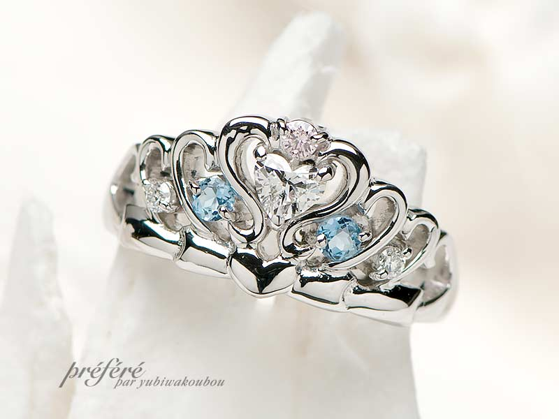 人気のハートダイヤを入れたティアラデザインの婚約指輪はオーダーメイド