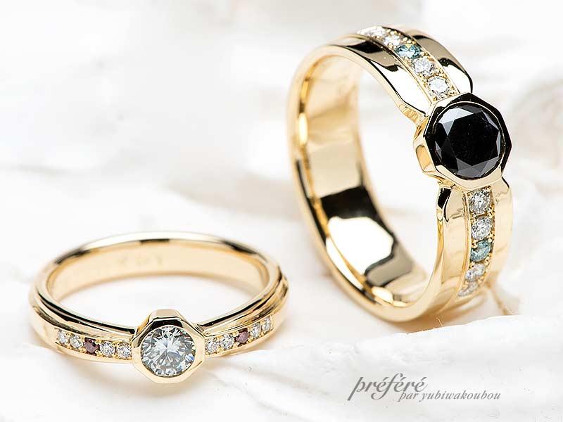 愛知県のお客様は八角形デザインでゴールドの結婚指輪をオーダーメイド