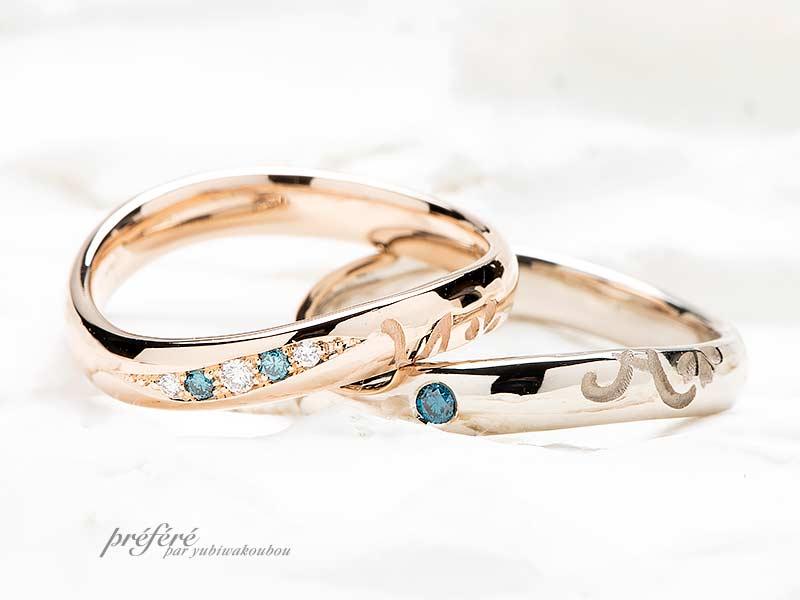 お客様が描いたイラストと桜の花をデザインした結婚指輪