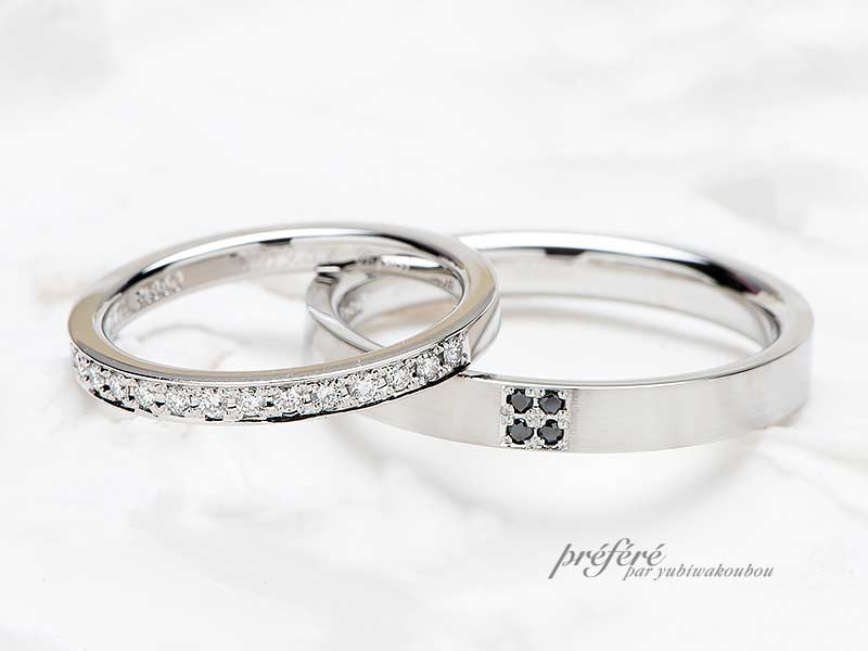 お客様がお好きな素材やダイヤの個数、色を選べるセミオーダーのマリッジリング