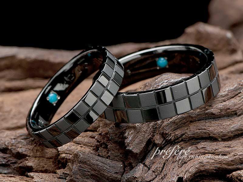 岡山のお客様は市松模様デザインのオリジナル結婚指輪をオーダー