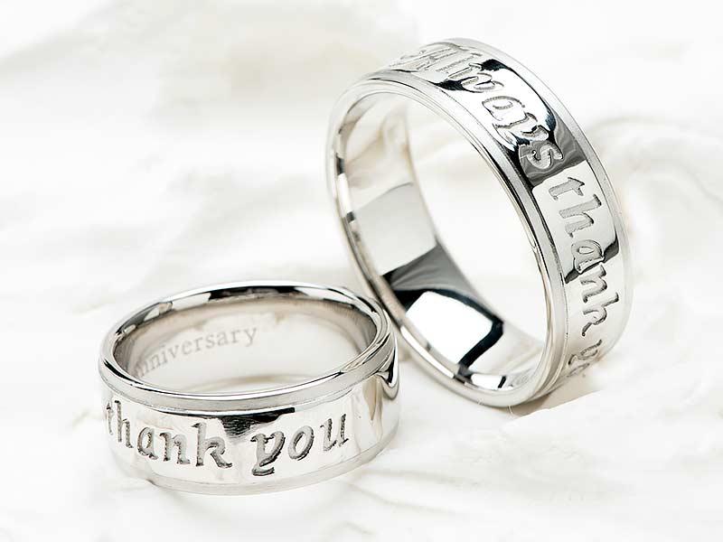 結婚10周年にメッセージを添えて贈るシンプルなデザインのペアリング