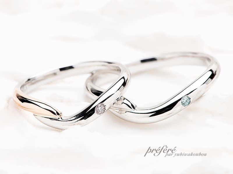 婚約指輪と結婚指輪を重ねて着けるセットリング