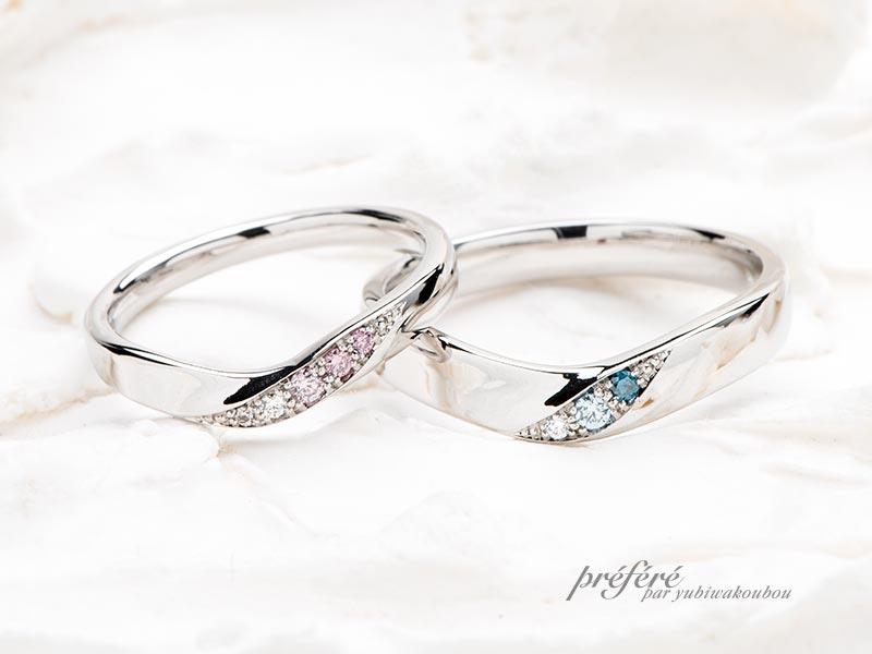 ダイヤモンドをグラデーションで入れた結婚指輪